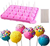 Juego de moldes para piruletas de silicona,molde para tarta,20 moldes redondos + 100 palitos ecológicos,aptos para hacer caramelos,tartas en bandeja,postres,gelatina y chocolate, antiadherente rosa