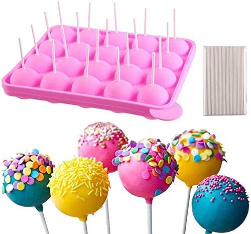 Silikon-Lutscher-Backform,20 runde Lutscher-Formen + 100 umweltfreundliche Stäbchen,geeignet für Süßigkeiten,Kuchen,Desserts,Gelee und Schokolade,antihaftbeschichtet,rosa