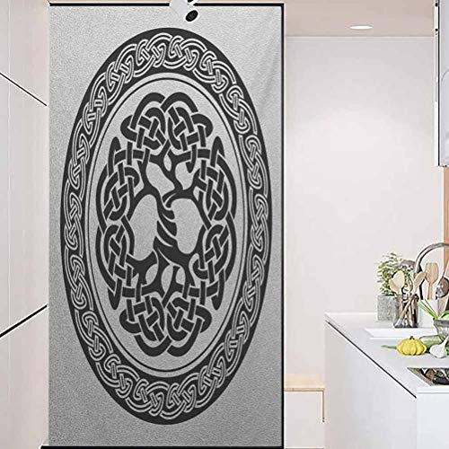 wonderr Window Privacy Film, Celtic Native Celtic Tree of Life Figure Ireland Early, Living Room Bedroom Kitchen Lobby Porch Office, W35.4xH78.7 Inch