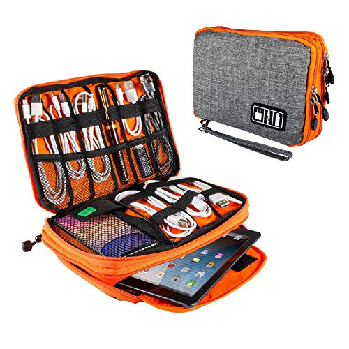 "Electronics Organizer Travel Universal Cord Organizer Electronic Accessories Case for Cable, Charger, Phone, USB Drive, SD Card, Mini Tablet(Up to 7.9"") Gray and Orange"