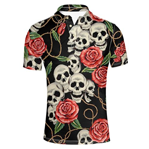 HUGS IDEA Classic Men's Golf Polos Shirt Sugar Floral Skull Retro Short Sleeves Summer Punk Rock T-Shirt