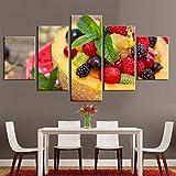 5D DIY arte de pared pinturas de diamantes 5 piezas fruta melón frambuesa imágenes impresiones decoración del hogar cartel para sala de estar modular
