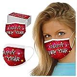 YpingLonk 10/20/50/100pc Bufanda Unisex Adulto para 2021 Feliz Año Universal 3 Capas CartaPrint Lindo Elástico Earloop Cuello -21113-07