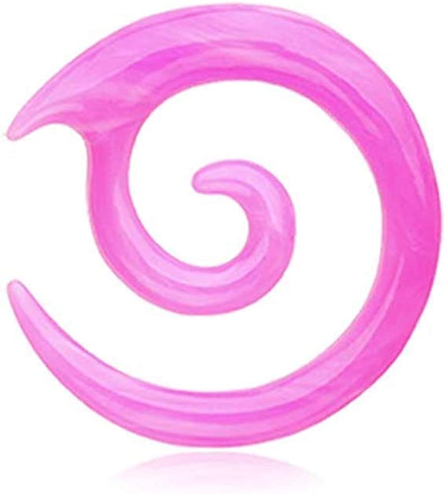 Covet Jewelry Twirl Fang Spiral Acrylic Ear Gauge Spiral Hanging Taper