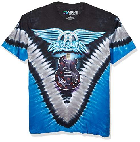 Liquid Blue Men's Aerosmith Guitar Short Sleeve T-Shirt,Multi,X-Large
