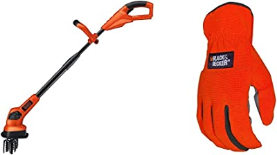 BLACK+DECKER 20V MAX Tiller, Tool Only with Easy-Fit All Purpose Glove (LGC120B & BD505L)