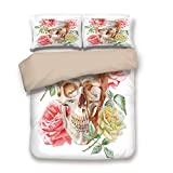 Khaki 3pc Bedding Set,Skull with Roses Living and The Dead Humor Romantic Evil Face Image Art Deco Twin Duvet Cover Set,Printed Comforter Cover with 2 Pillowcases for Teens Boys Girls & Adults