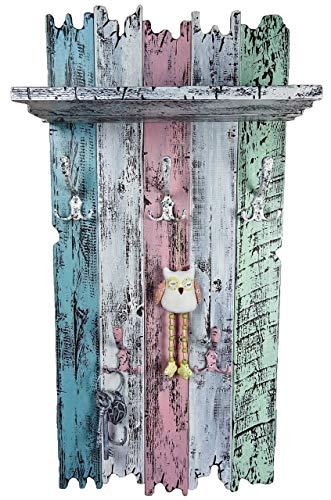 SHaBBy CHic ViNTaGe Holz Garderobe mit 5x3 Metallhaken blau türkis rosa weiß (HXBXT: 115x5ox15 cm) aus Echtholz/Massivholz im used look rustikal Landhaus Stil (alternativ: Gaderobe, Gardrobe)