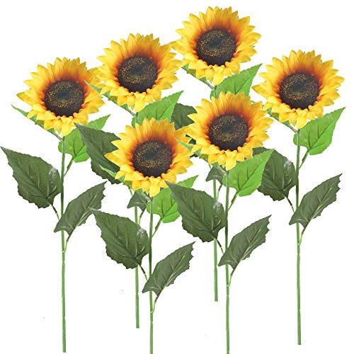 HUAESIN 6pcs Künstliche Sonnenblumen mit 62cm Lang Stem Realistische Seide Kunstblumen Sonnenblume Künstliche Blumen deko für Aaußen Balkon Friedhof Garten Hochzeit Party Hause