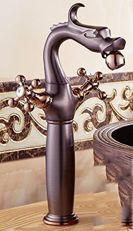 LHbox Bad Armatur in Bad für Waschbecken Waschtisch Wasserhahn Waschtischarmatur Europische Retro Stil, Kupfer, hei und Kalt, Das Becken, Einloch Mischbatterie 2