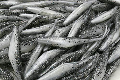 "Tuning_Store 4"" Flukes Soft Plastic Jerkbait Smoke Sparkle/Pearl Bass Walleye Fishing"