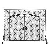 XIANGE100-SHOP Puertas para Chimeneas Pantalla de Chimenea línea Delgada Rhombus pequeña cuadrícula Decoración de Doble Puerta Plaza de Hierro Forjado Pantalla de Chimenea de diseño Simple
