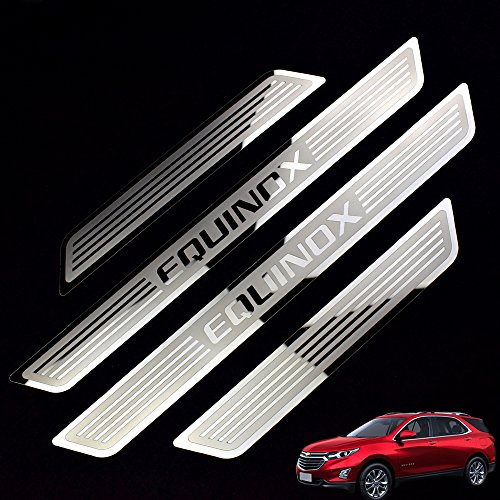 Weigesi Stainless Steel Door Sill Scuff Plate Protector Cover Trim for Chevrolet Chevy Equinox Accessories 2015-2020