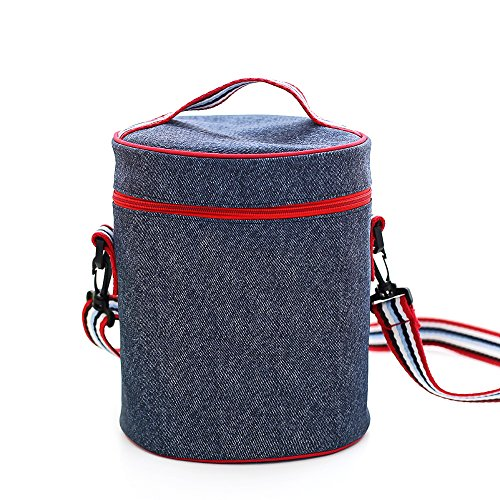 cylindrique Denim Sac de transport isolé Lunch Box Holder Container