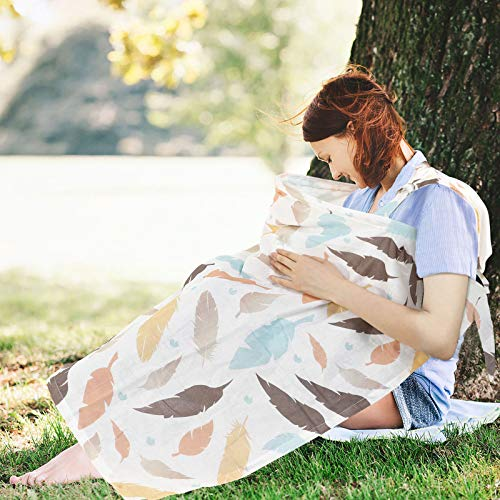 Nursing Covers for Breastfeeding,Super Soft Lightweight Breathable Muslin Organic Cotton Cover,Open Neckline Privacy Feeding for Mother Babies,Full Coverage and Adjustable Strap(Autumn Leaves)
