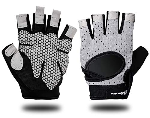 ALMEE Breathable Workout Gloves for Women Men, Padded Palm Weight Lighting Mittens with Wrist Wrap Support, Anti Slip Fingerless Gloves for Biking Lifting Gym Exercise and Fitness, Gray X-Large