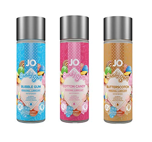 System Jo H2O Flavored Candy Shop Water Based Lubricant 2oz- 3 Flavors - Cotton Candy, Butterscotch, Bubble Gum (Candy Shop)