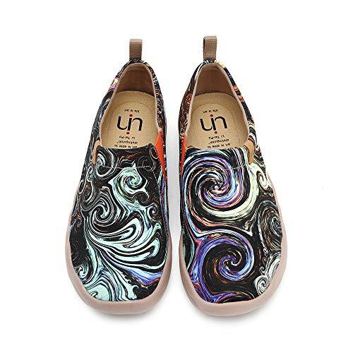 UIN Estrellada Mocasín de Mujer Verano,Mocasín de Cuero Casual Diseñado Holgazán de Mujer Zapatos Comodos de Zapatos Mujer, Lona 37