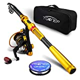 TQONEP Fishing Rod and Reel Combos Carbon Fiber Telescopic Fishing Rod with Reel Combo Sea Saltwater...