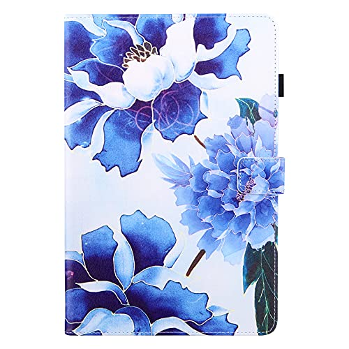 Case for iPad 6th Gen/5th Gen 9.7 Inch 2018/2017, iPad Pro 2016/iPad Air 2/Air 9.7' Case, PU Leather Smart Cover with Auto Wake/Sleep & Stand Function Wallet Shockproof Tablet Case, Blue Flower