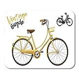 Mauspads Schwarzes Fahrrad City Bicycle Vintage in Gelb Enthält Schriftzug Mauspad für Notebooks,...