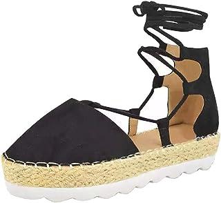 5c51f27aa8902 Minetom Femme Sandales Été Plat Style Daim Sandales Lace Up Espadrilles  Mode Décontractée Chaussures à Plateforme