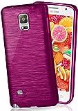 MoEx® Funda de Silicona con Aspecto Aluminio Cepillado Compatible con Samsung Galaxy Note 4 en Lilas