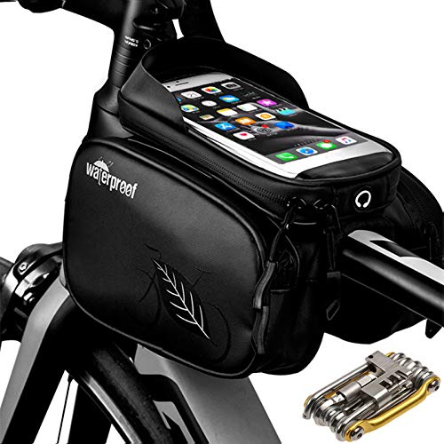 FKZX Bike Frame Bag with Phone Holder,Top Tube Bag for Transporting Personal Belongings,Suitable for Trekking Bikes, Road Bikes, Mountain Bikes,Tool-free Mounting, Water-repellent