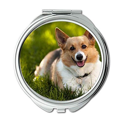 Yanteng Spiegel, Travel Mirror, Französisch Bulldog Corgi, Taschenspiegel, 1 X 2X Vergrößerung