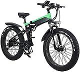Bicicleta eléctrica de nieve, Bicicleta eléctrica plegable para adultos, 26 'Bicicleta eléctrica / conmuta Ebike con motor de 500W, engranajes de transmisión de 21 velocidades, portátiles fáciles de a