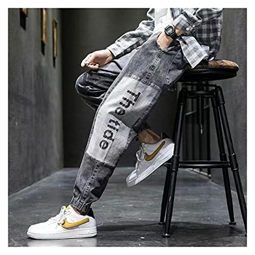 DOUYUAN Pantalón Cargo de Punk Pant Jeans for Hombre Jeans Sueltos Homme Denim Pantalones Casual Hip-Hop Jogging Retro Monos (Color : Black, Size : L)