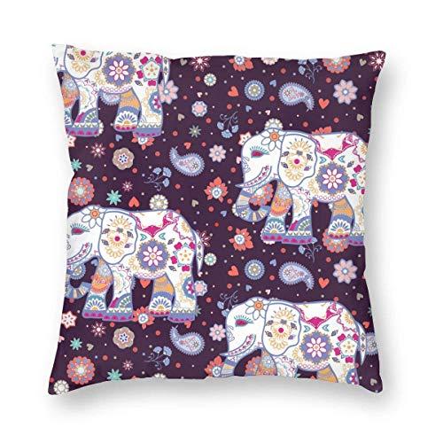 N\A Cozy Throw Pillow Cover Funda de Almohada Cuadrada Decorativa de Elefante étnico Funda de cojín para Dormitorio, Sala de Estar, sofá, sofá y Cama,