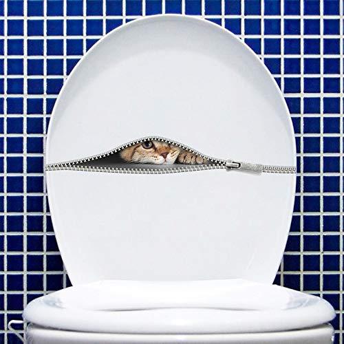 GVC Cute Cat Toilet Stickers Peeking Cat Zipper Pegatinas