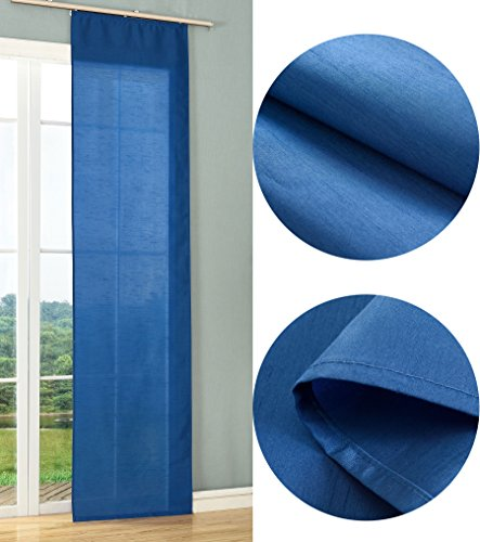 Schiebegardine Flächenvorhang Wildseide Optik Vorhang Gardine, 245x60 cm (Höhe x Breite), Blau, 85620