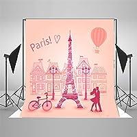 写真の背景ピンク白いキラキラエッフェル塔ロマンチック 2x3m 結婚式の背景写真のための背景カスタム写真スタジオのプロップ