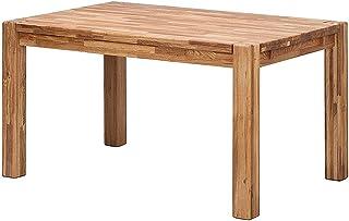 NordicStory Table de salle à manger extensible en bois de chêne massif, idéale pour cuisine, salon ou bureau, meubles de s...