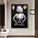 SSHABC Arte en Blanco y Negro Graffiti Marilyn Monroe Impresiones artísticas Pop Art Poster Retrato Lienzo Cuadros de Pared decoración del hogar / 50x75cm / sin Marco