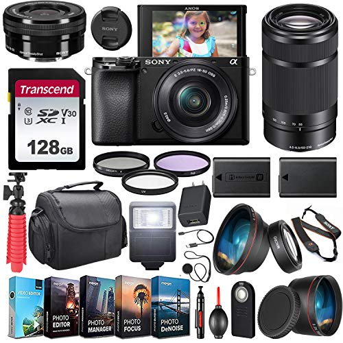 Sony Alpha a6100 Mirrorless Camera UHD 4K 2 Lens Kit (ILCE6100Y/B) with 16-50mm & 55-210mm Lens + Extra Battery + Flash + Wide Angle & Telephoto Lens + Filters + 128GB U3 V30 Memory Accessory Bundle