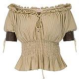 Belle Poque Mujer Camiseta Steampunk Tops Elegante Casual Retro Vintage Suave Cómodo Caqui L