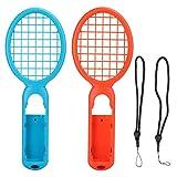 Raquette de contrôleur de Jeu de Tennis, 1 Paire de poignée de Raquette de Tennis contrôleur de détection de Mouvement pour Accessoires de Console de Jeu de commutateur Nint_endo(Rouge + Bleu)