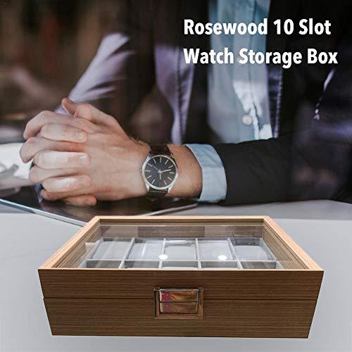 getherad 10 Slot Palisander Uhrenbox Vitrine Sammlung Schmuckschatulle mit transparentem Deckel Everybody