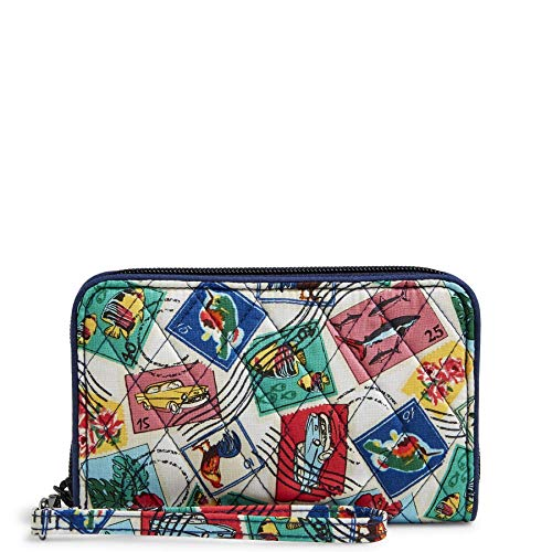 Vera Bradley Signature Cotton Grab & Go Wristlet with RFID Protection, Cuban Stamps