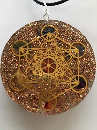 Petra Strätz Schutz Amulett Metatrons Würfel-129-Goldene Energie-Anhänger-Lederkette