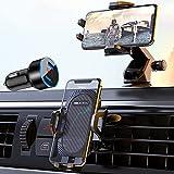 SEAMETAL スマホホルダー 4in1 片手操作 一台両用 車載ホルダー 吸盤式 吹き出し口式 スマホスタンド 車用 携帯ホルダー 360度回転 2段階伸縮アーム 日本語説明書付き 4-7インチ 全機種対応 iPhone/Samsung/Sony/LG/Huawei など