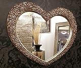 Premierinteriors Großer Wandspiegel Herz Kunstvolles Champagner Silber French engrved Roses 110x 90cm