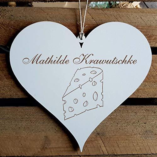 Schild Herz « Käse » mit persönlicher Wunschgravur - Deko Dekoration Türschild Name - Küche Käsetheke