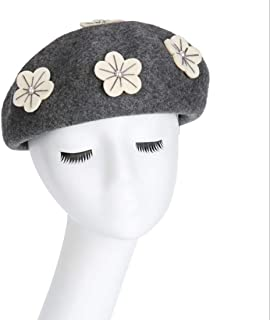 Hats Woollen Cloth Hat with A Solid Color Beret Hat Female Autumn Pumpkin Hat Flower Painter Hat Fashion (Color : Grey)