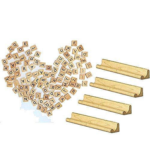 Wooden Scrabble Replacement Tiles & Letter Racks Set of Four(4) (Complete Set of 100 Letter Tiles)