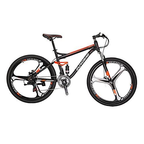 マウンテンバイク EUROBIKE MTB S7 フルサスペンション 27.5inchs 21段 ディスクブレーキ ハードテイル自転車 ブラック/オレンジ 27.5