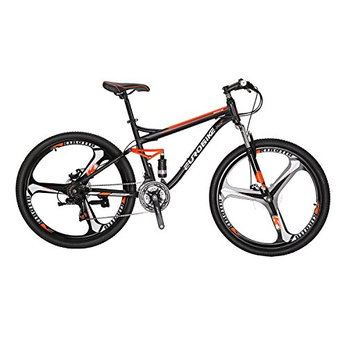 Eurobike BICYCE S7-27.5 Mountain Bike 21 Speed Shift Left 3 Right 7 Frame Shock Absorption Mountain Bicycle 3-Spokes Black Orange 27.5K